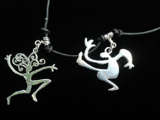 Big dancing man and woman necklace